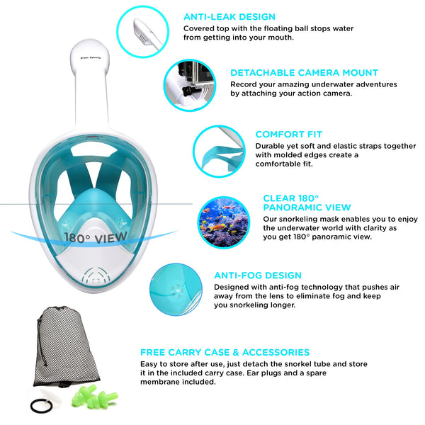 Snorkel Mask Panoramic Full Face Design for Adults and Youth Will Provide Hours of Fun, Xino Sports Diving Mask, Perfect View with Large Viewing Area - Xino Sports