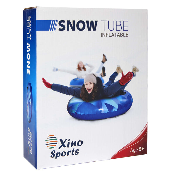 XinoSports Premium Inflatable Snow Tube, Large 42 inch Diameter Sled, Heavy Duty Design to Provide Hours of Fun, Snow Sledding - Xino Sports
