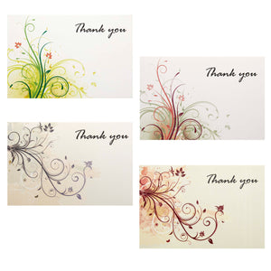 Elegant Thank You Cards - 36 Floral Theme Notes with Envelopes and Bonus Stickers, Premium Quality Paper, Will Not Smudge - 4x6 Inches Size - Perfect for Any Occassion