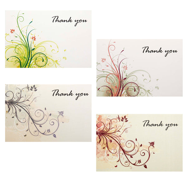 Elegant Thank You Cards - 36 Floral Theme Notes with Envelopes and Bonus Stickers, Premium Quality Paper, Will Not Smudge - 4x6 Inches Size - Perfect for Any Occassion - Xino Sports