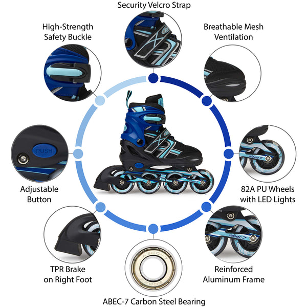 XinoSports Adjustable Kids Inline Skates for Girls & Boys with Light Up Wheels (Ages 5-20) – Roller Skates with Illuminating Wheels – 1 Year Warranty, Life Time Customer Support - Xino Sports