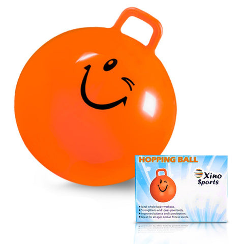 Deluxe Hopping Ball for Kids - Teenagers and Adults, Offers Hours of Incredible Fun for Boys and Girls, Amazing Space Hopper Ball, Safe and Durable Jumping Ball with Handle, 22 Inch Diameter - Xino Sports