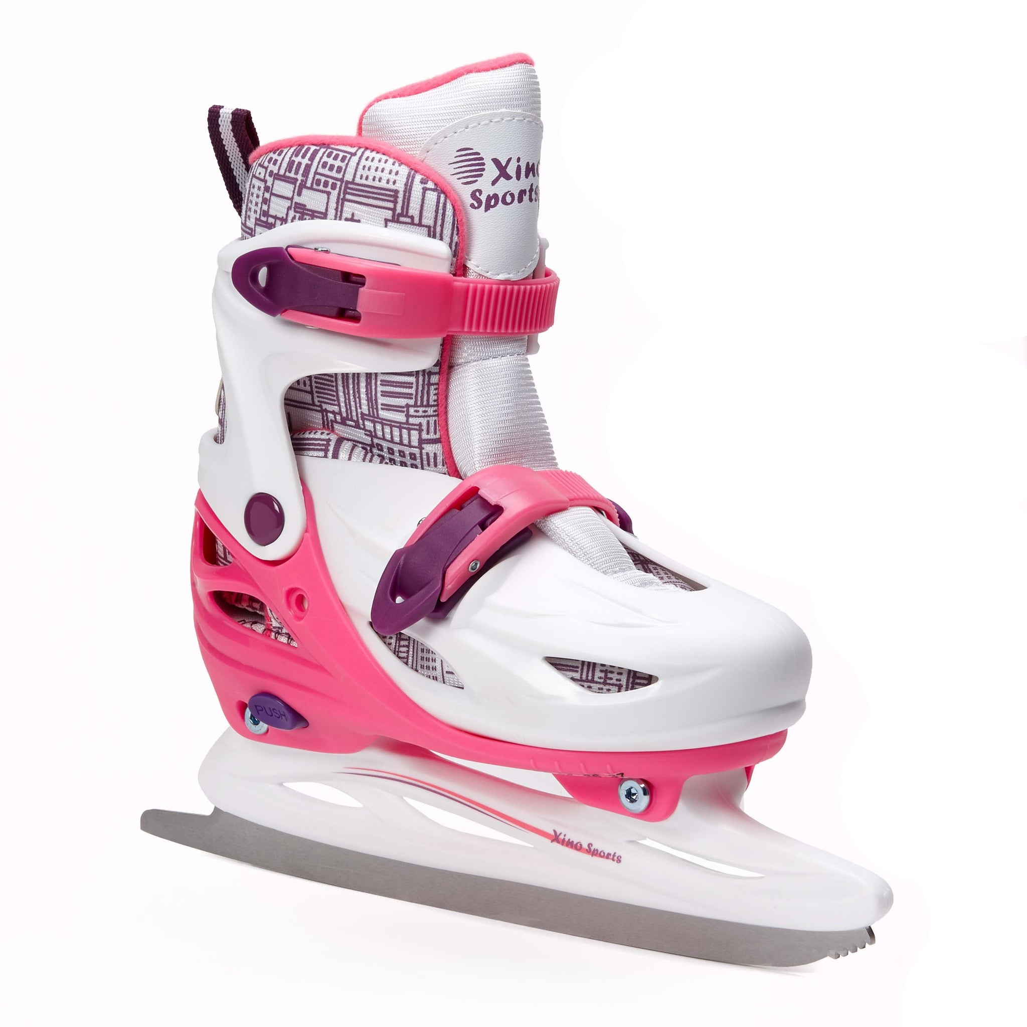 XinoSports Premium Adjustable Ice Skates for Boys and Girls, Two Awesome Colors - Blue and Pink, Padding and Reinforced Ankle Support, Fun to Skate! - Xino Sports
