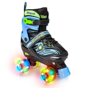 Xino Sports Kids Adjustable Roller Skates for Girls & Boys with Light Up Wheels (Ages 5-20) – Roller Skates with Illuminating Wheels - Xino Sports