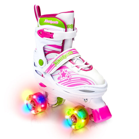 Xino Sports Kids Adjustable Roller Skates for Girls & Boys with Light Up Wheels (Ages 5-20) – Roller Skates with Illuminating Wheels - Xino