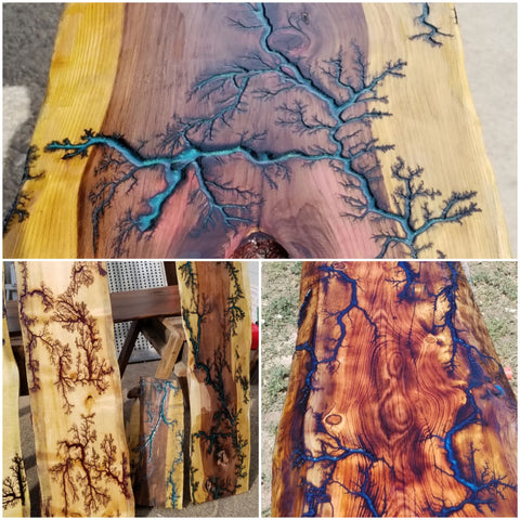 Fractal Burn & Finish Your Own Live Edge Table Top Class Ticket  (one)