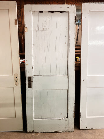 "Antique Solid Wood Two Panel Door - 77 1/2"" x 30"""