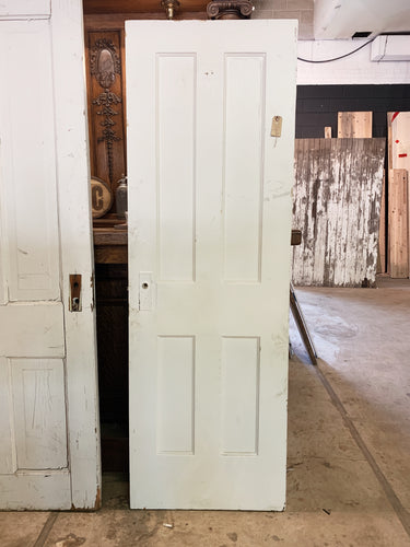 "Antique Solid Wood Four Panel Door - 71 1/8"" x 23 5/8"""