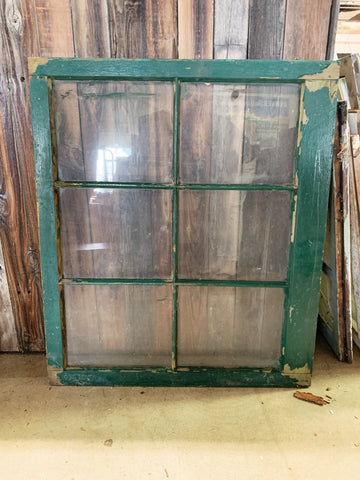 "Antique Green Six Pane Window 34"" x 29 1/4"""