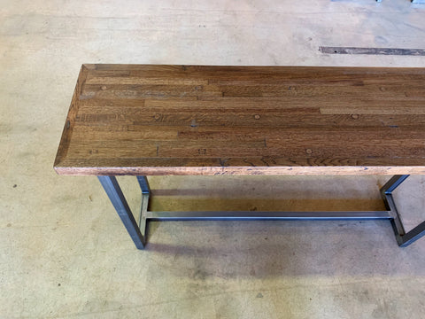 Reclaimed Oak Sofa Table with Recycled Steel Base