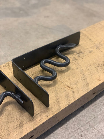 "Hand Forged Steel Snake Shelf Brackets: 10"" x 6"""