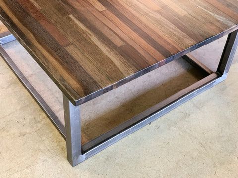 Reclaimed Apitong Coffee Table with Recycled Steel Base