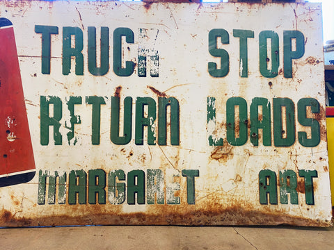 "Vintage 7 Up Truck Stop Sign: 94"" x 45"""
