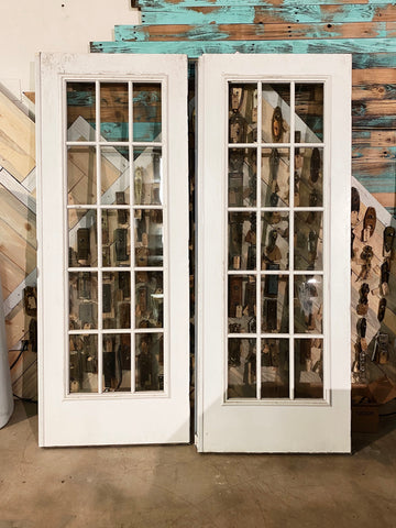 "THIS PRODUCT IS ON HOLD PER LINDA Antique French Doors with 15 Pane Window - 80"" x 30 1/2 - 31 1/4"""