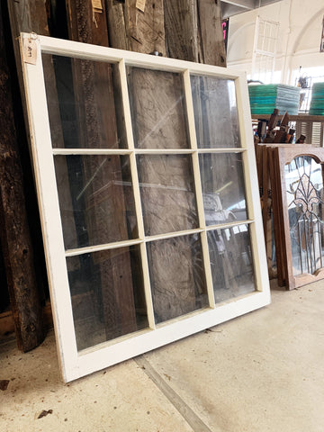 "Antique Nine Pane White Window - 40"" x 36"""