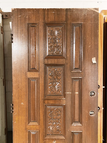"Antique Exterior Door with Ornate Carvings - 79 1/2"" x 36"""
