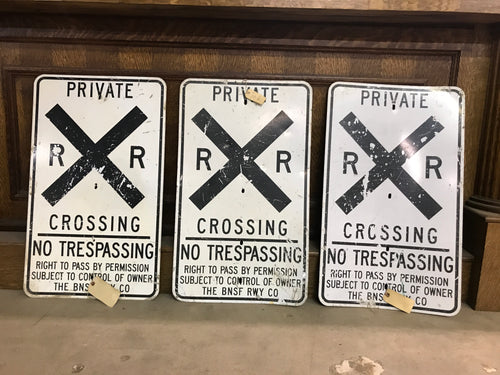 BNSF RWY Santa Fe RR Railroad Crossing Sign
