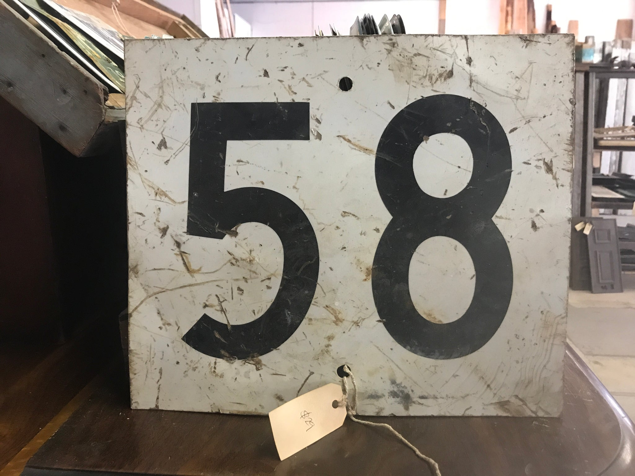 Vintage Number 58 Railroad Single Sided Sign 14
