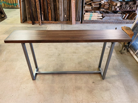 Reclaimed Apitong Sofa Table with Recycled Steel Base