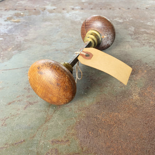 Vintage Wooden Doorknob Set with Spindle