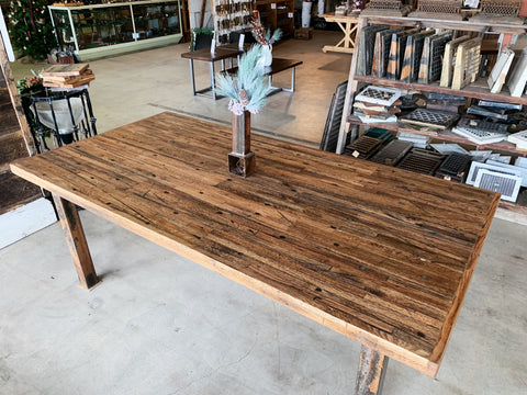Reclaimed Oak Dining Table with Salvaged Steel Base