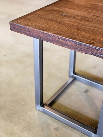 Reclaimed Oak End Table with Recycled Steel Base