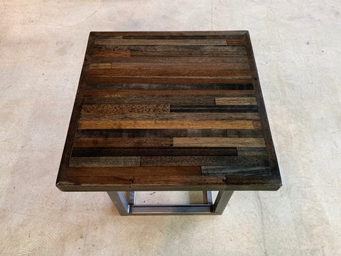 Reclaimed Apitong End Table with Recycled Steel Base