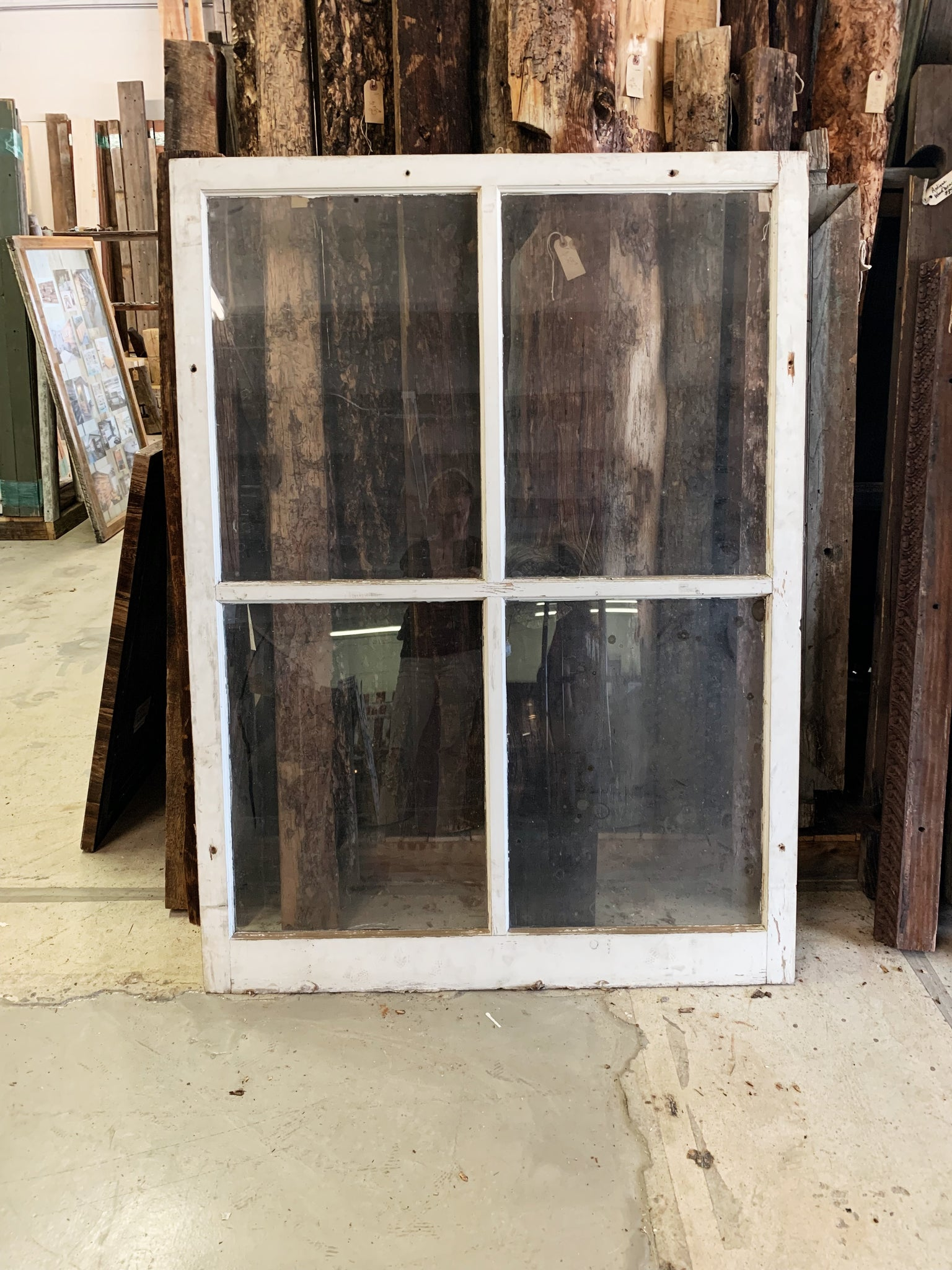 "Large Antique Four Pane White Window- 57 1/4"" x 42 1/4"""