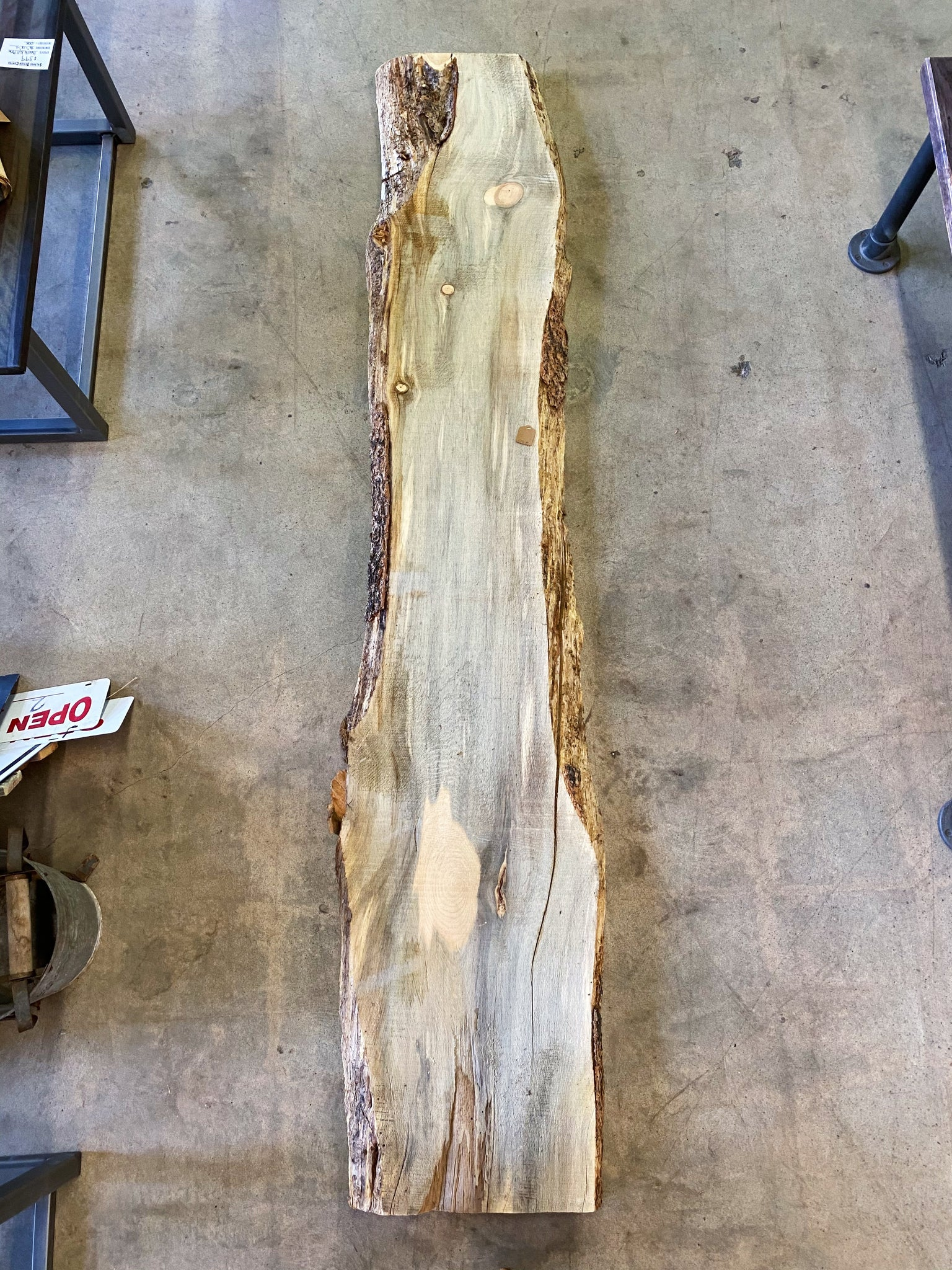 "96"" x 18"" x 2"" Beetle Kill Pine Live Edge Slab"