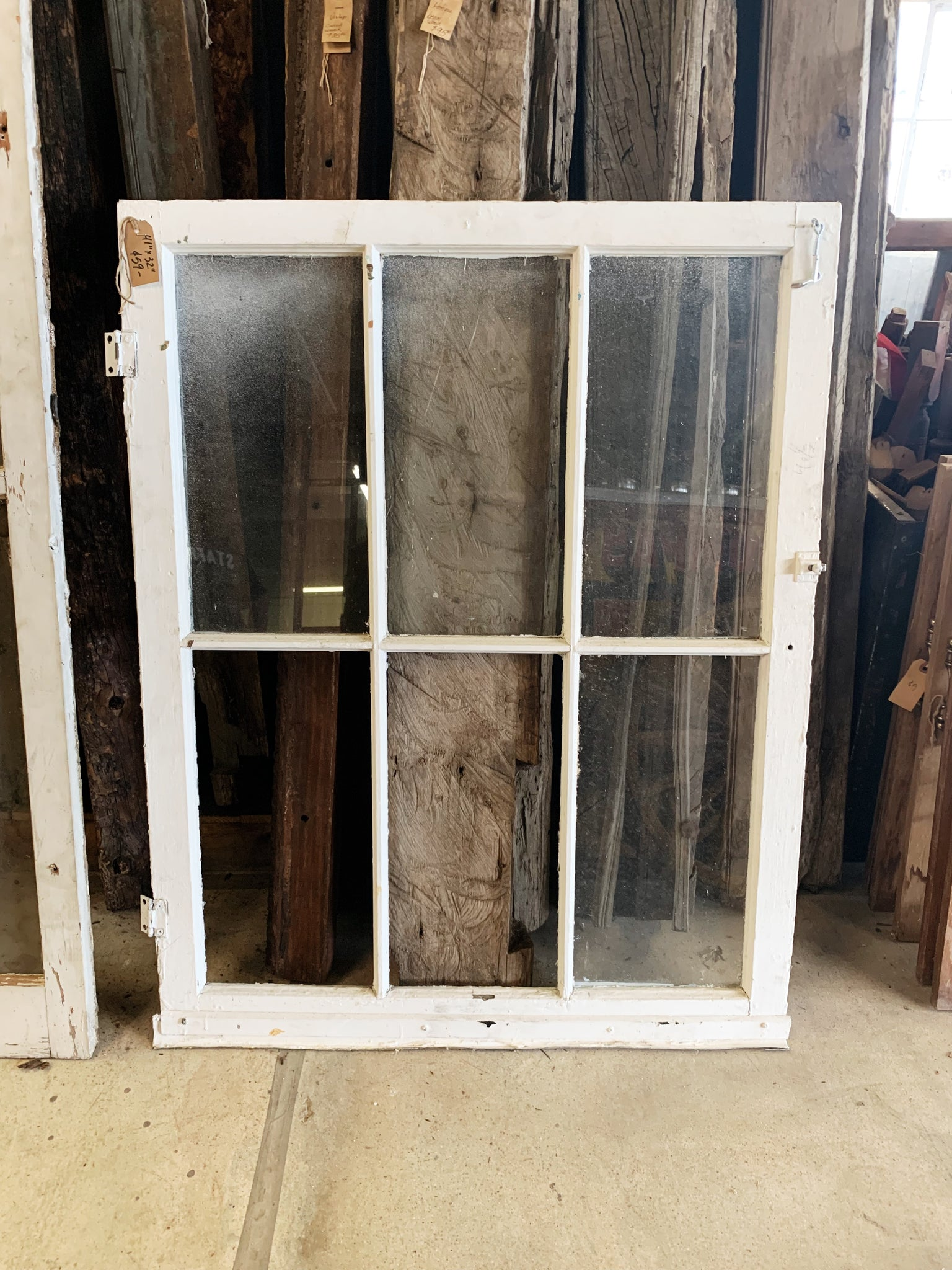 "Antique Six Pane White Window 41"" x 32"