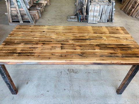 Reclaimed Oak Dining Table with Inlaid Salvaged Steel Base