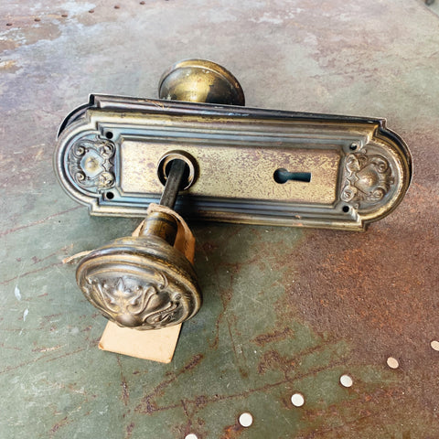 Vintage Door Hardware Set: Face Plates, Spindle & Door Knobs