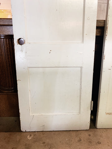 Antique Solid Wood Two Panel White Door - 77 1/4