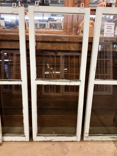 "Antique Two Pane White Windows 51 1/2"" x 17 1/2"""
