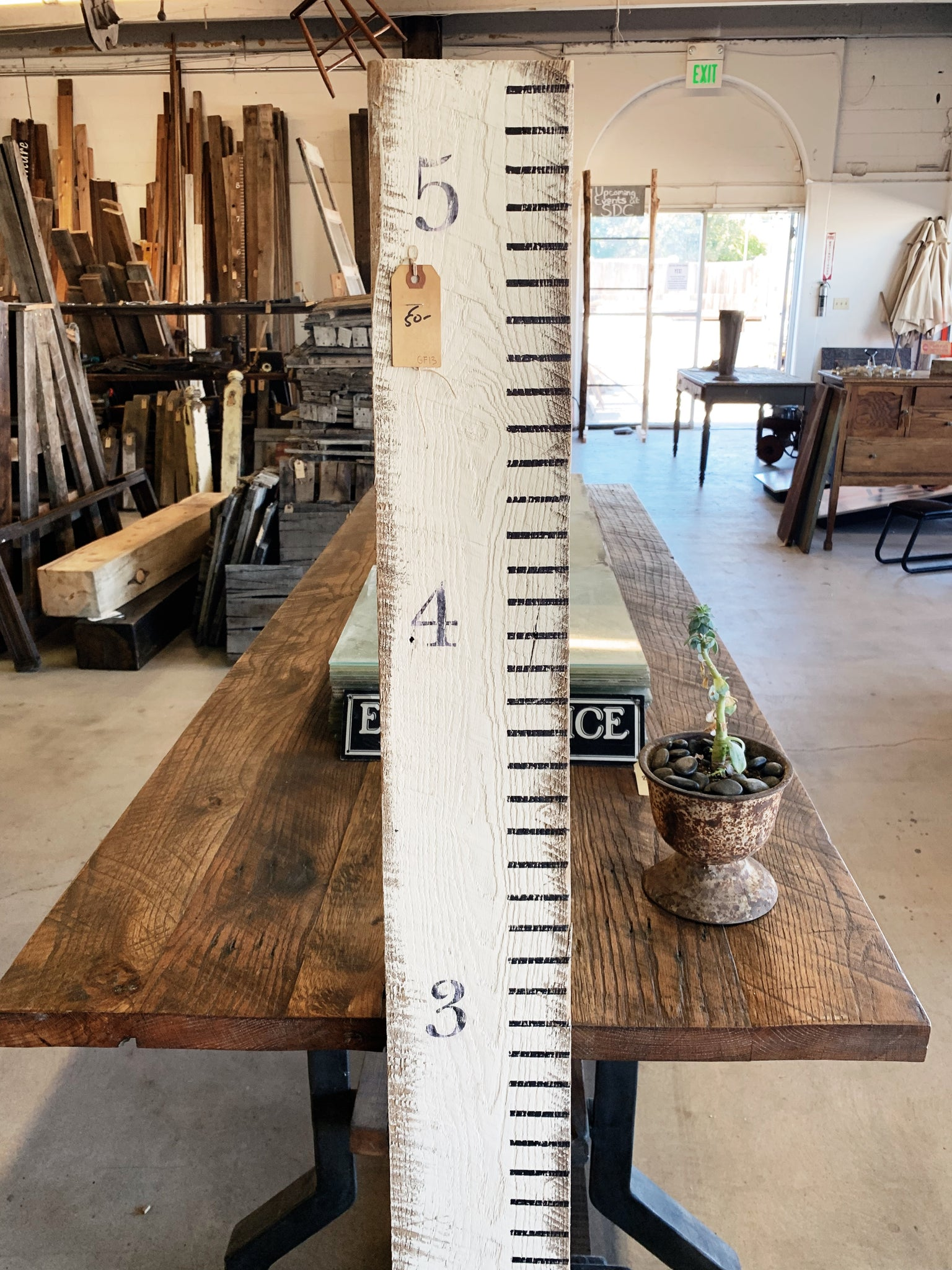 "Rustic Reclaimed Wood Growth Stick (5' 4"")"