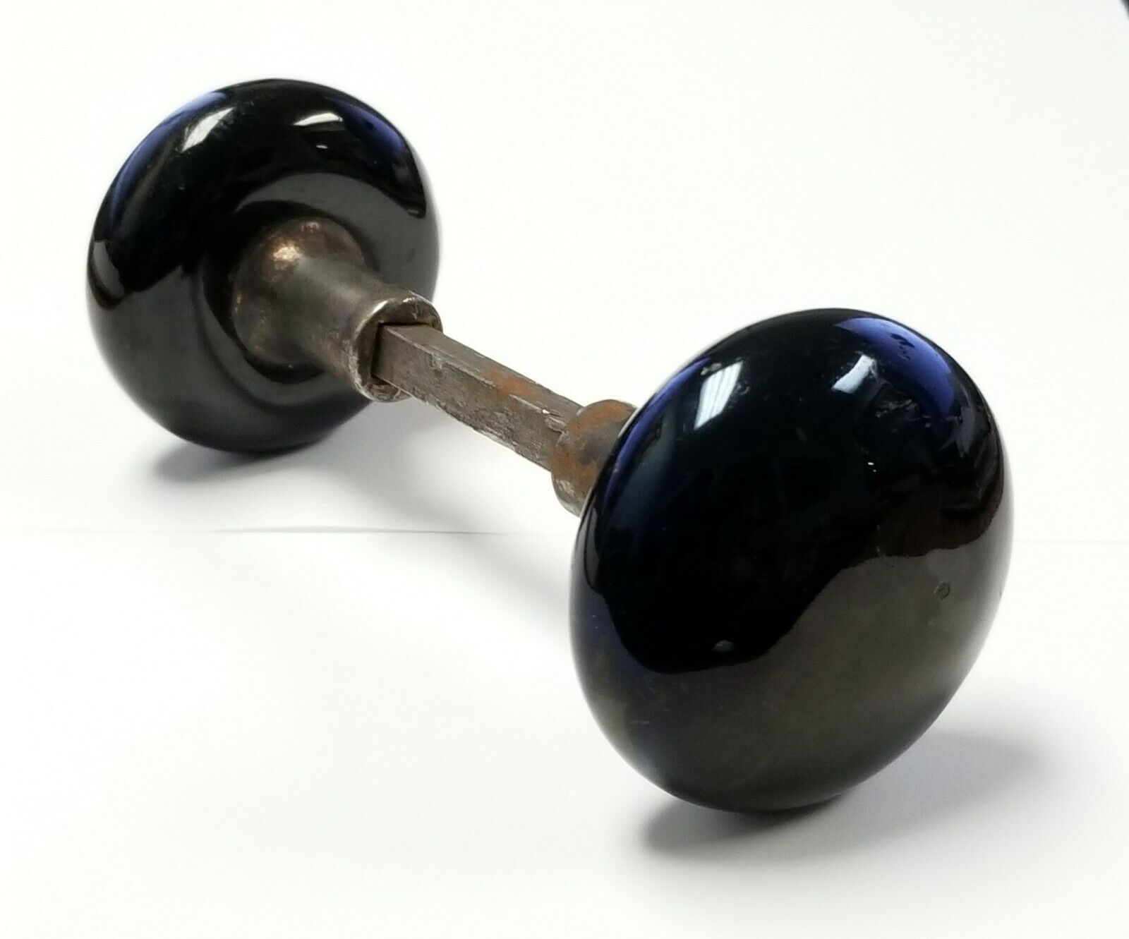 Pair of Black Antique Porcelain Door Knobs & Spindle