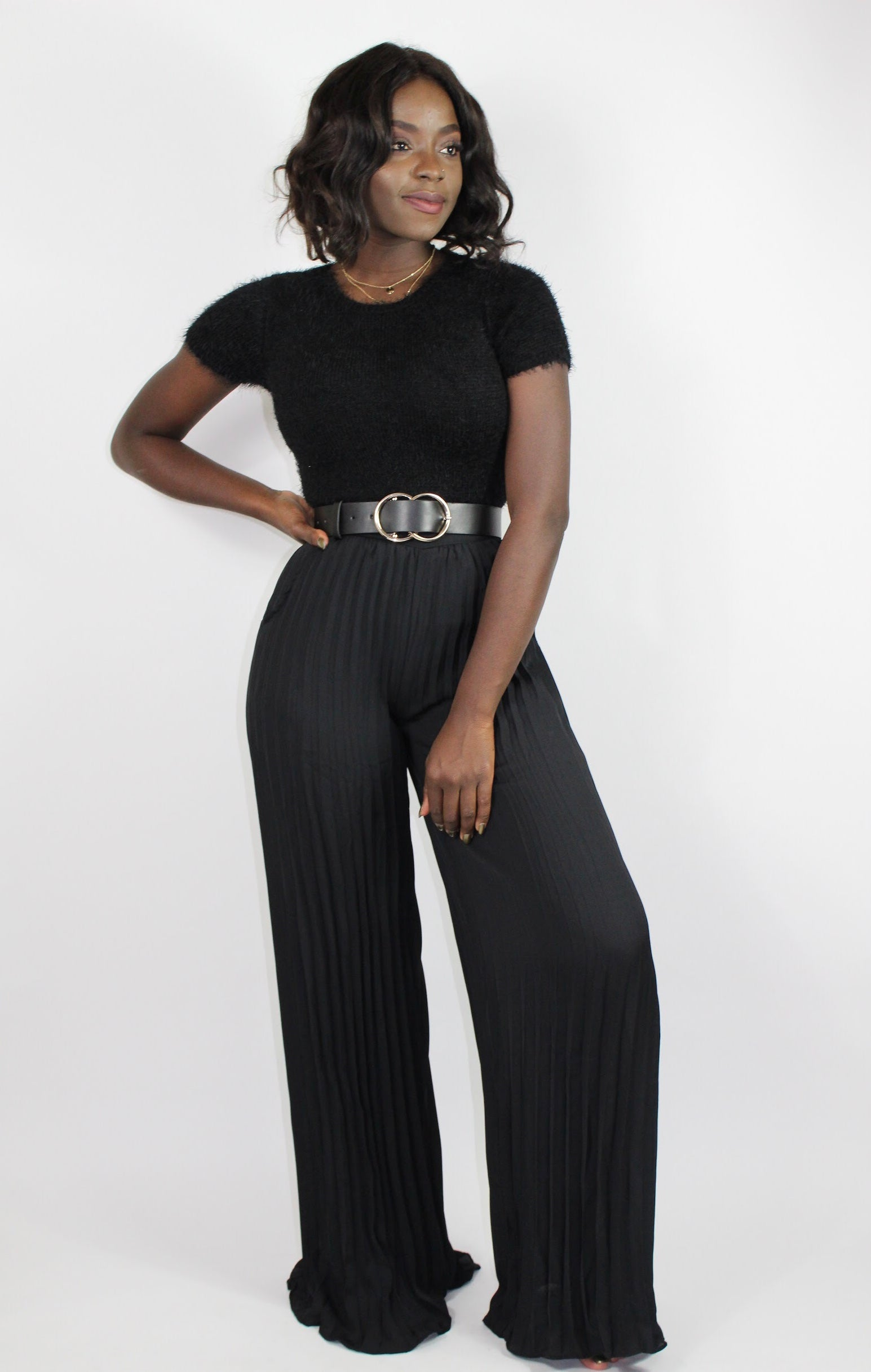 Pleating Wide Trouser-Black