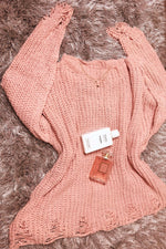 Distressed Sweater-Mauve