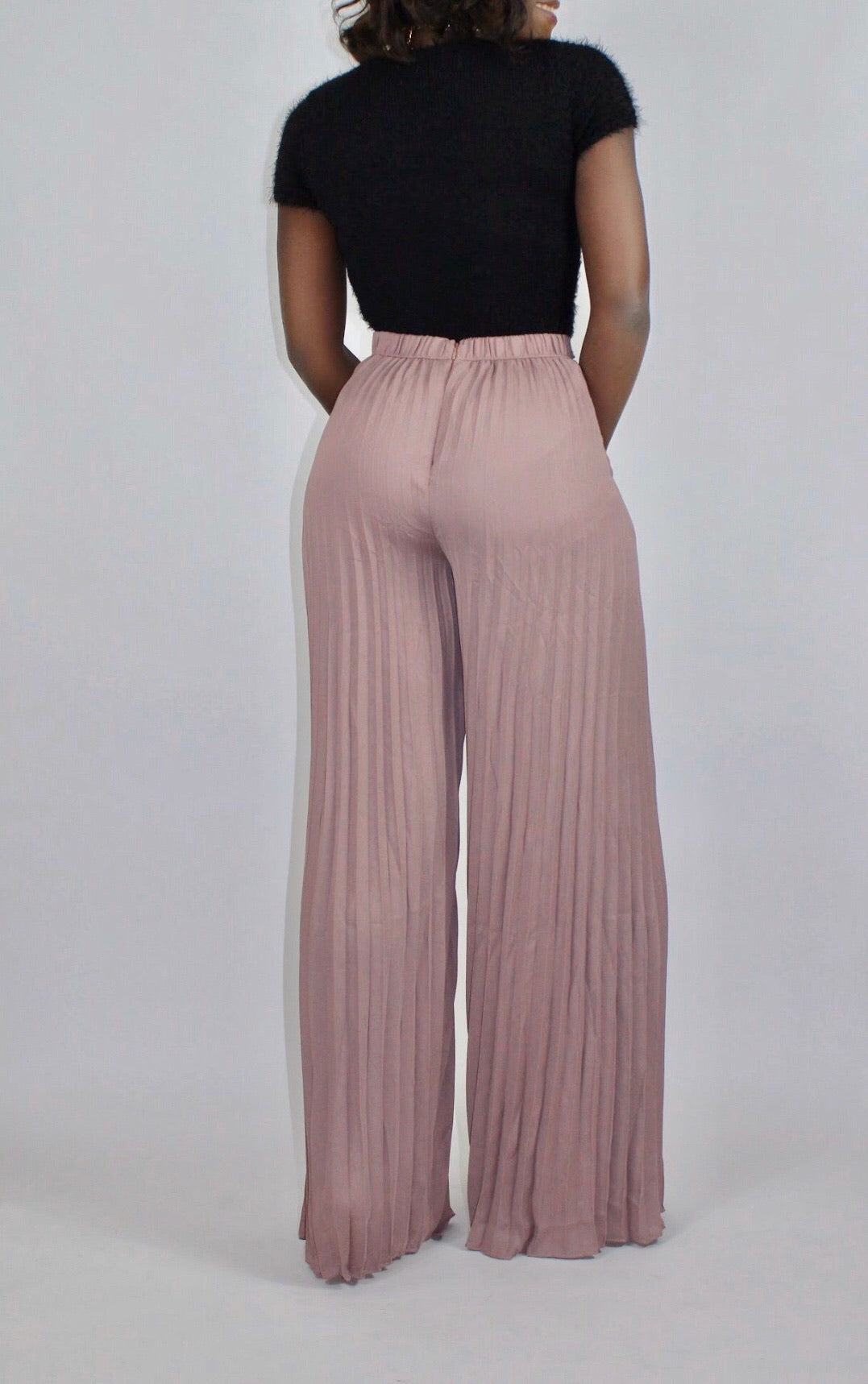 Pleating Wide Trouser-Mauve