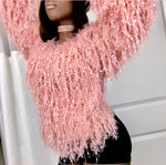 The Fluffy Fringe Sweater - Mauve