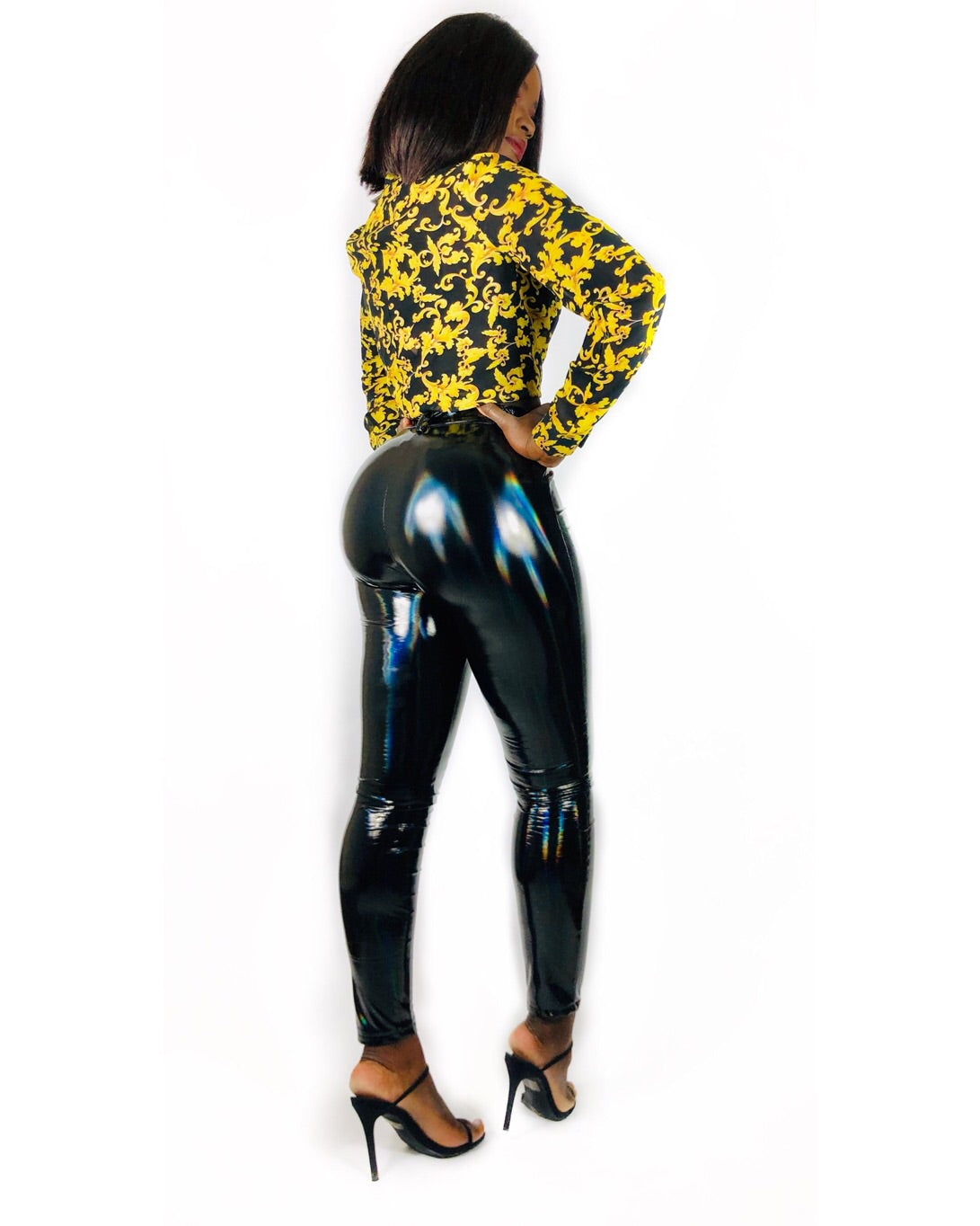 Hologram Latex Pants -Black