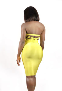 Laced Up and Snatched Bandage Dress-gold