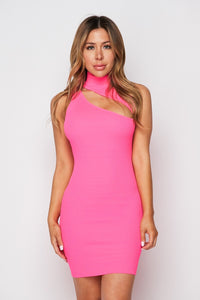 The Front Cutout Neon Dress - Pink