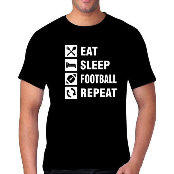 Eat Sleep Football Repeat Black Tshirt - FMS108