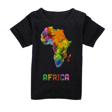 FMstyles - Afrian Watercolor Map Kids Black Tshrit - FMS229