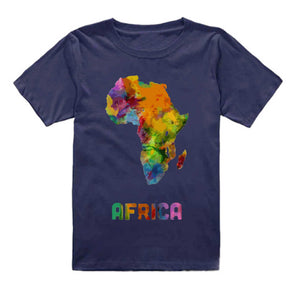 FMstyles - Afrian Watercolor Map Kids Dark Blue Tshrit - FMS229