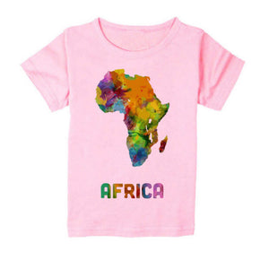 FMstyles - Afrian Watercolor Map Kids Light Pink Tshrit - FMS229