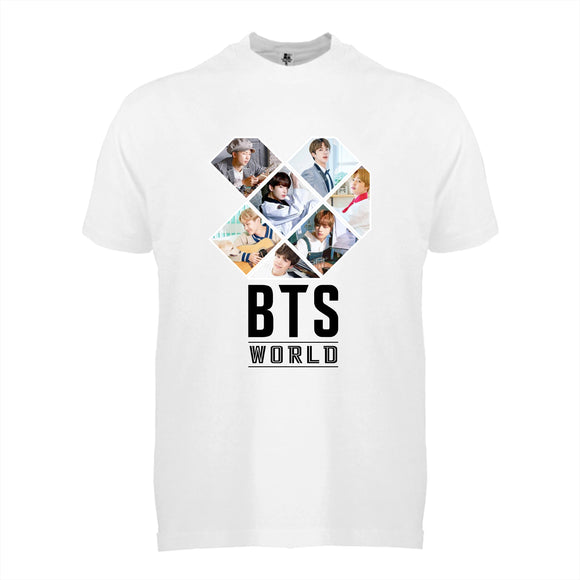 FMstyles - BTS World White Unisex Tshirt with Full Color Print - FMS625