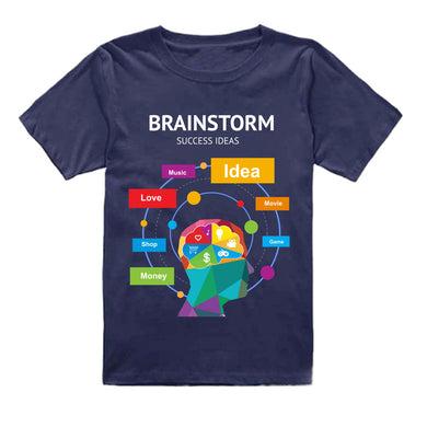 FMstyles - Brainstorm Success Ideas Navy Blue Unisex Kids Tshirt - FMS147