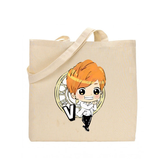 shop137 - FMstyles BTS Member V Cartoon Tote Bag FMS363 - FMstyles -